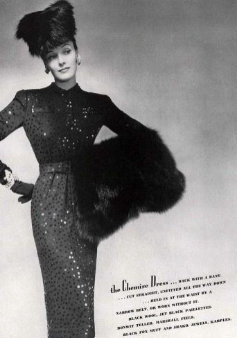 chemise-dress-in-black-wool-with-jet-paillettes-photo-by-george-hoyningen-huene-harpers-bazaar-september-1941