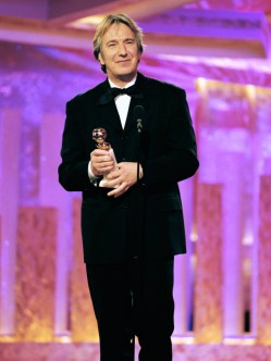 """54TH ANNUAL GOLDEN GLOBE AWARDS -- Pictured: Alan Rickman, Best Actor In A Leading Role - Mini-Series Or Television Movie for """"Rasputin"""" on stage during the 54th Annual Golden Globe Awards held at the Beverly Hilton Hotel on January 19, 1997 (Photo by Margaret Norton/NBC/NBCU Photo Bank via Getty Images)"""