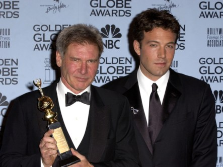 Harrison Ford, with his Cecil B. DeMille Award, and Ben Affleck at the 59th Annual Golden Globe Awards January 20, 2002 at the Beverly Hilton in Beverly Hills, California. (Photo by SGranitz/WireImage)