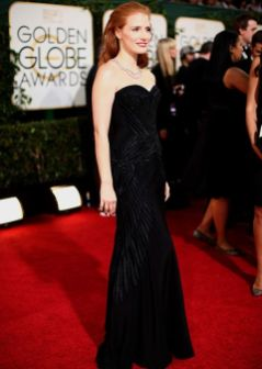 BEVERLY HILLS, CA - JANUARY 12: 71st ANNUAL GOLDEN GLOBE AWARDS -- Pictured: (l-r) Actress Jessica Chastain arrives to the 71st Annual Golden Globe Awards held at the Beverly Hilton Hotel on January 12, 2014 -- (Photo by Christopher Polk/NBC/NBC via Getty Images)