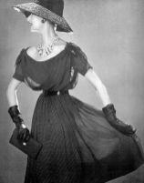 simone-daillencourt-wearing-maggy-rouff-dress-and-gilbert-orcel-hat-photographed-by-philippe-pottier-1957
