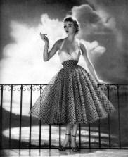 Jean Patchett in a party dress, Harper's Bazaar May 1952