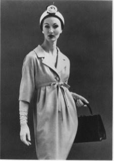 Evelyn Tripp in a wool dress, 1958