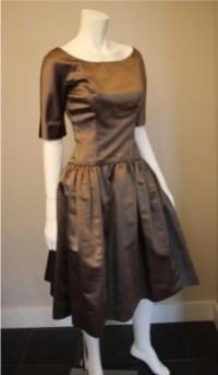 Grey satin dress 1950s