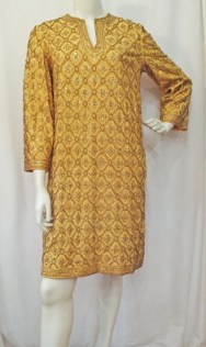 Gold sequin and beaded dress by Marie McCarthy for Larry Aldrich