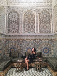 Tularosa off the shoulder dress in Fez, Morocco