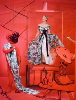 Lisa Fonssagrives wearing Pierre Balmain, background by Marcel Vertes, 1953