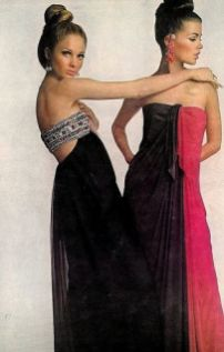 Sue Murray and Astrid Heeren are wearing evening gowns by James Galanos. Photo by Bert Stern for Vogue, November 1965