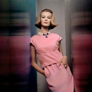 Nena von Schlebrugge, Two-piece pink velvet dress by Larry Aldrich, with large faux pearl necklace by Castlecliff. Circa November 1961