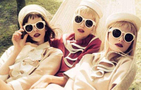 Olga Butkiewicz, Alina Levichkina & Lisa Emily wearing Marc Jacobs Spring '13 by Akinori Ito in Elle Japan June 2013