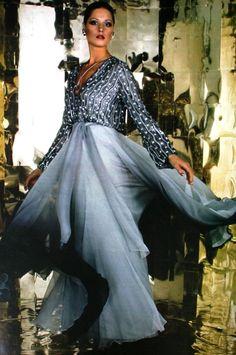Soft grey dress Uli Richter, Burda International Fall Winter 1974