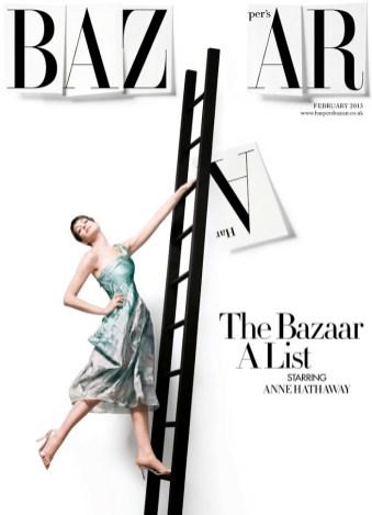 Anne Hathaway by David Slijper, Harper_s Bazaar UK subscriber cover February 2013