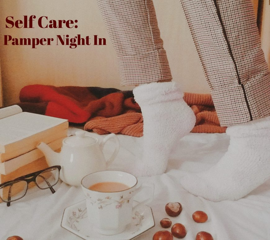 cosy jumpers, socks, books, tea and glasses for blogmas post self care winter pamper night in