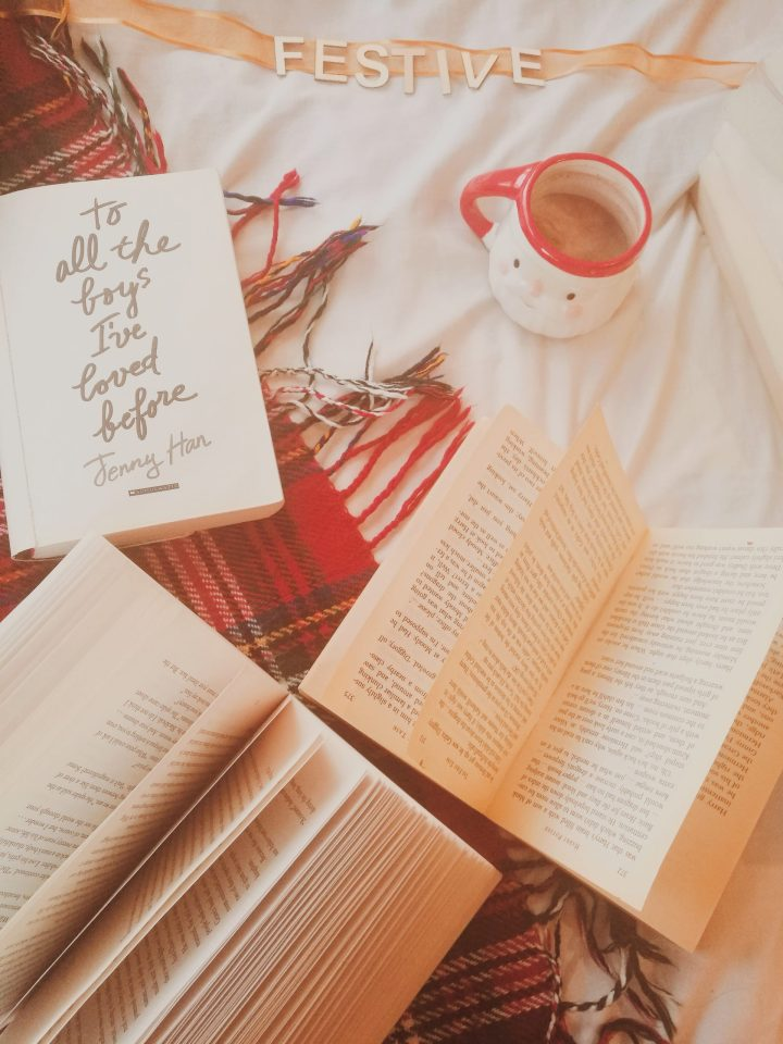 books, santa hot chocolate mug and festive vibes for a gift guide for students