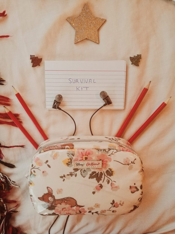 survival kit, festive blanket and pens and pencils for a gift guide for students