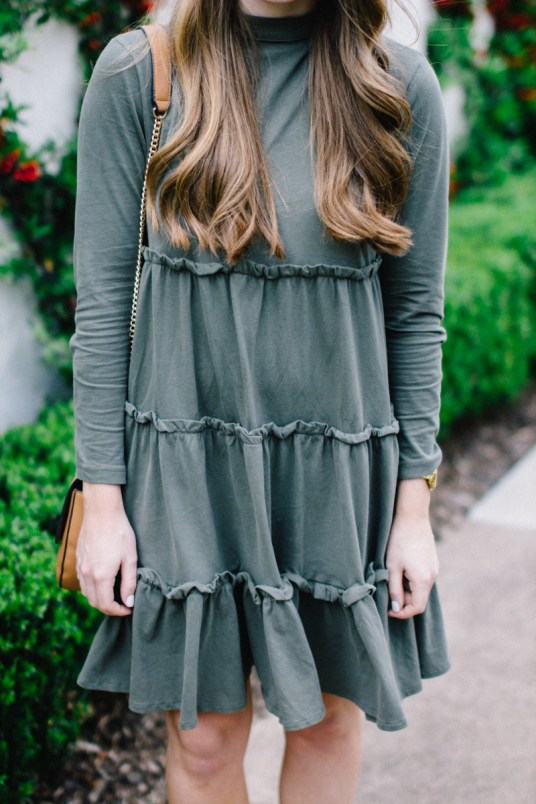 Olive Tiered Swing Dress