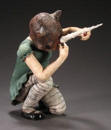 "Dressing Up, 2006, terracotta/porcelain, 20"" x 10"" x 21"""