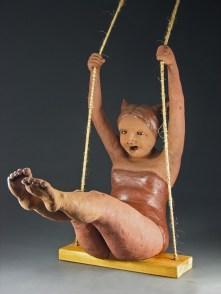 "Swinger, 2007, terracotta/mixed media, 29"" x 33"" x 15"""