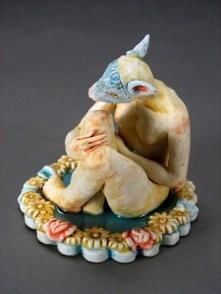 "Bathing Deer, 2012, porcelain, glaze, resin, 4"" x 4"" x 4"""