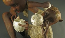 "Gossipers, 2008, terracotta, porcelain, lace, wax, oil paint, fabric, wood, 47"" x 35"" x 30"""