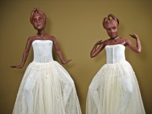"""Condescenders, 2008, terracotta, porcelain, tulle, metal, wire, 77"""" x 75"""" x 75"""""""
