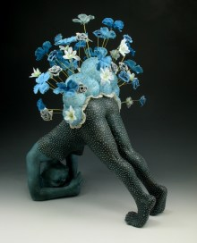 "Ploom, 2010, terracotta, terra sigillata, glaze, acrylic medium, styrofoam, lace, fake flowers, sand, brass wire, 30"" x 30"" x 7"""
