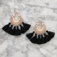 Earrings :: Statement & Drop :: Blush Tassel Earrings - Black