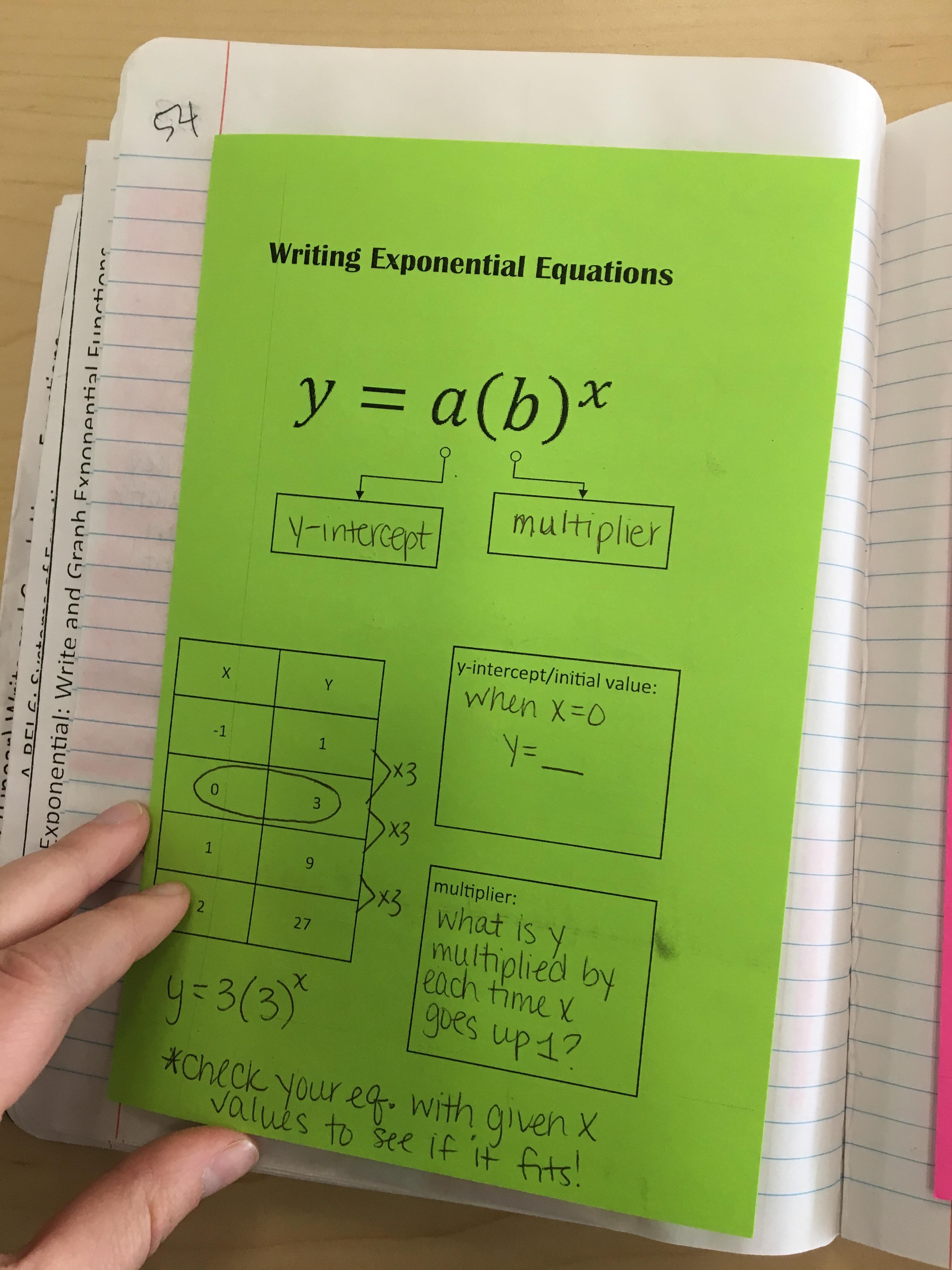 Algebra 1 Unit 4 Interactive Notebooks Exponential