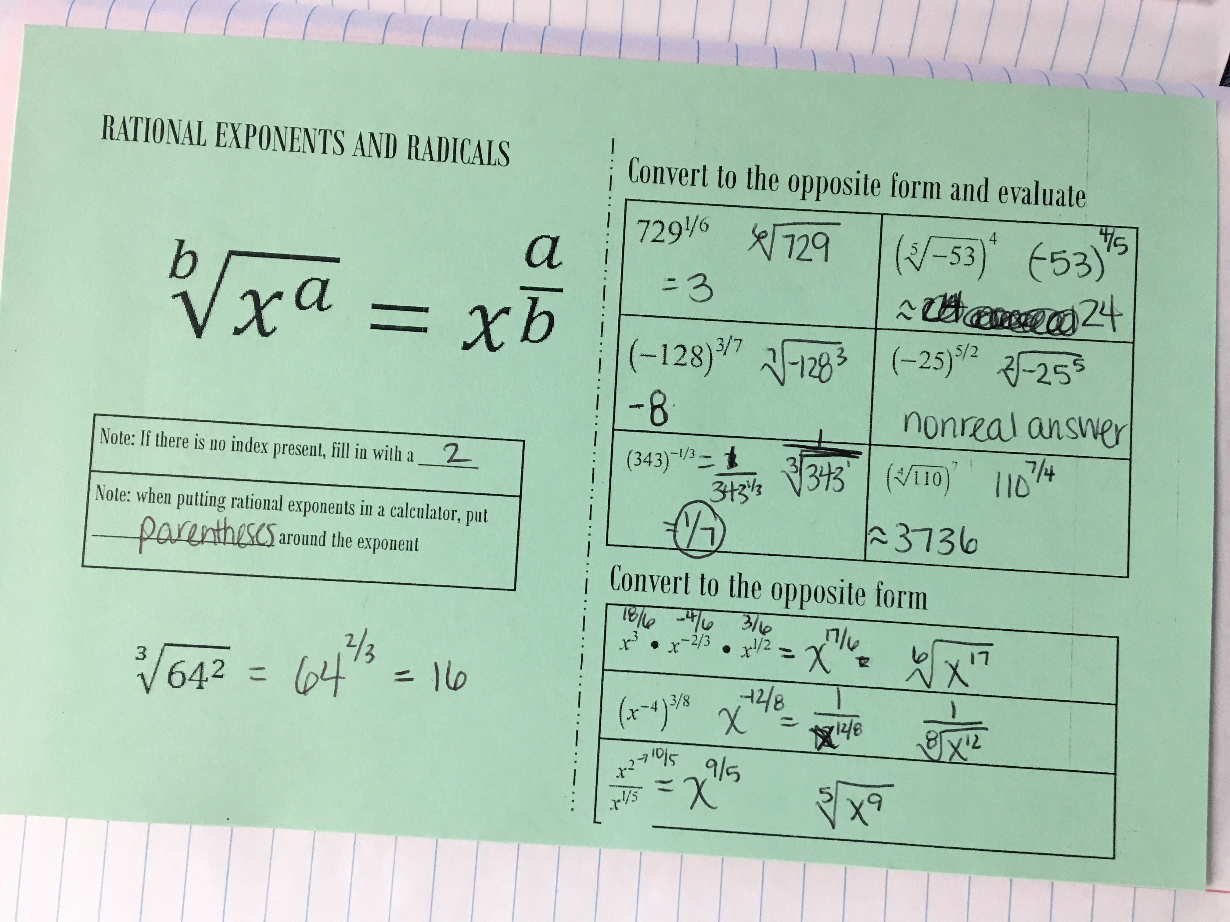 Algebra 1 Unit 5 Interactive Notebooks Exponents And