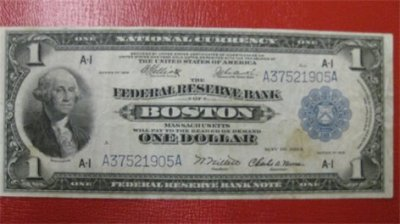 Vintage Money - 1918 Boston Massachusetts One Dollar Bill