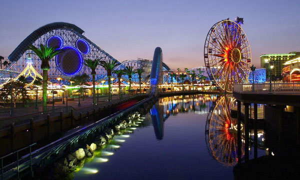 lavish amusement park at night