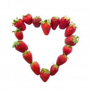Strawberries shaped into a heart