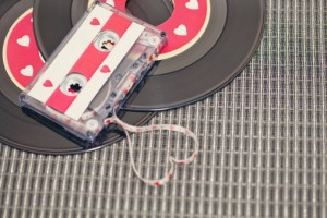 Cassette and vinyl discs with hearts