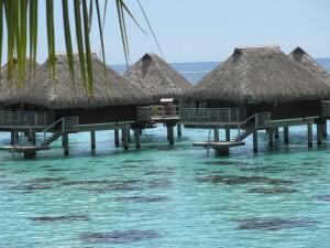 water bungalows in bora bora