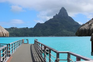 view from a bungalow in bora bora