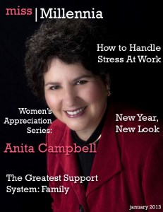 Anita Campbell on Miss Millennia magazine