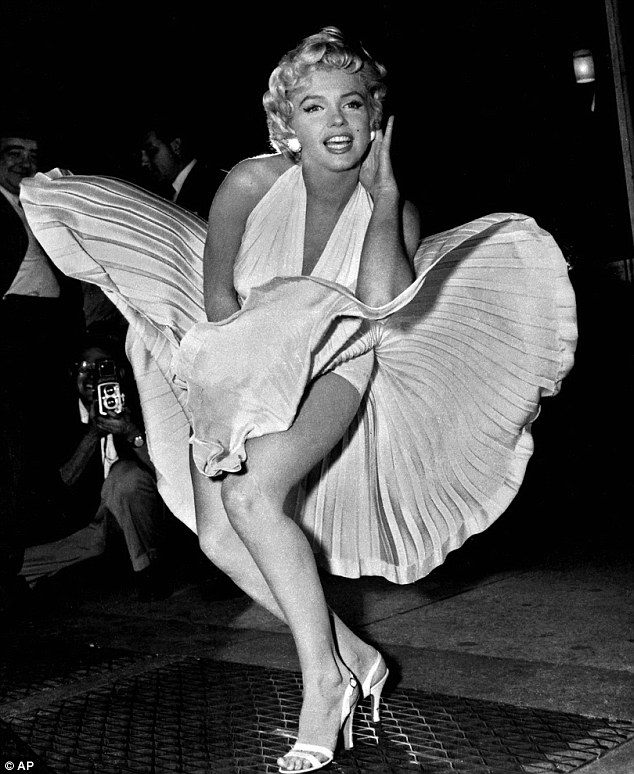 marilyn monroe with her dress flying up, the feminine curve