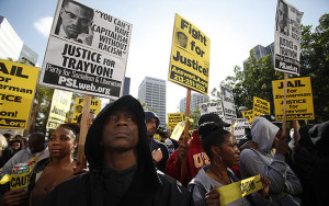 Protesters in Pershing Square on Monday. Credit: Francine Orr, Los Angeles Times