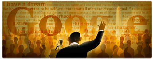 Today's Google Doodle honoring King's speech