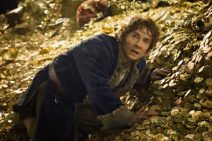 bilbo baggings in pile of gold