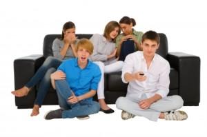 viral video, teens watching tv