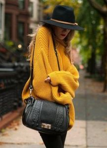 oversized yellow sweater