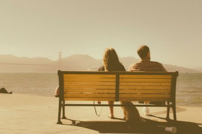 couple in a relationship on a bench