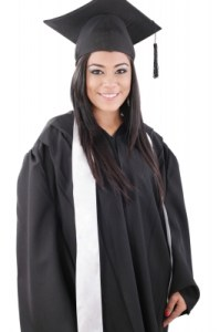 woman in a graduation cap and gown