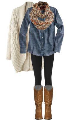 denim shirt, scarf, leath boots, black leggings, cream sweater