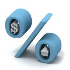 blue percent sign with a dollar sign and house in the circles
