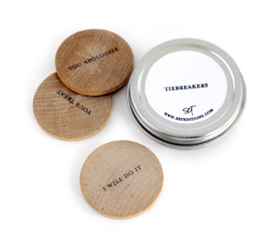 tie breaker wooden coin gift for couples