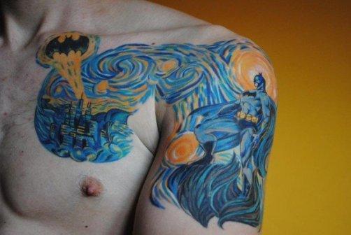 batman starry night tattoo