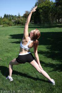 girl doing yoga commando
