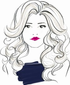 sketch of woman with wavy hair